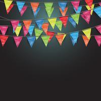 Priorità bassa festiva con bandiere, vettoriale
