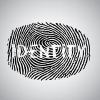 Illustrazione di impronta digitale con 'identità', vettoriale