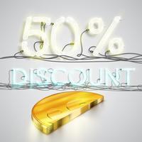 La mezza moneta realistica rappresenta il discoount, illustrazione di vettore