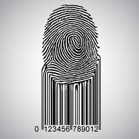 Impronta digitale che diventa codice a barre, vettore