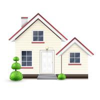 Casa realistica con garage, vettoriale