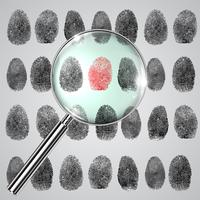 Impronta digitale e una lente d'ingrandimento