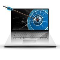 Una freccia e un computer portatile, vettore