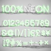 Alfabeto al neon realistico con fili (ON), vettoriale