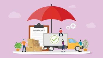 assicurazione logistica con del cartone impilato con un grande ombrello vettore
