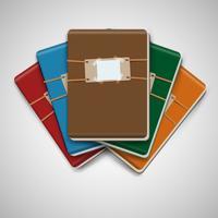 Cinque diversi quaderni colorati