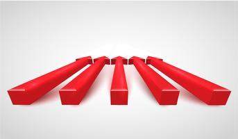 Frecce rosse realistiche 3D, vettore