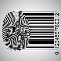 Impronta digitale diventando illustrazione vettoriale codice a barre