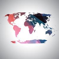 Mappa del mondo colorato, vettoriale
