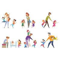bambini attivi genitori che giocano con i bambini vettore