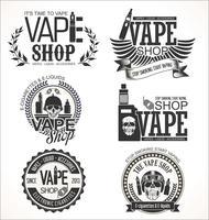 Collezione di etichette retrò di Vape shop