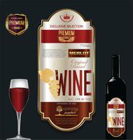 Illustrazione vettoriale di lusso vino etichetta dorata