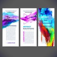 Bandiere del modello di vettore astratto, brochure, siti Web, pagina, depliant, con sfondi ad acquerelli colorati, logo e testo separatamente.