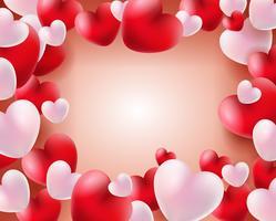 Fondo di giorno di biglietti di S. Valentino con i palloni rossi e bianchi concetto dei cuori 3d