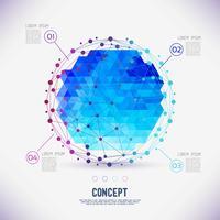 Concetto astratto reticolo geometrico, la portata delle molecole nel cerchio. vettore