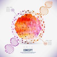 Concetto astratto reticolo geometrico, la portata delle molecole, catena del DNA vettore