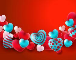 Fondo di giorno di biglietti di S. Valentino con i palloni blu e bianchi rossi concetto dei cuori 3d