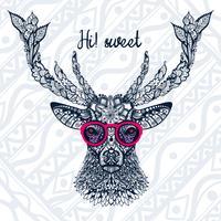 L'immagine della testa del cervo con gli occhiali. vettore