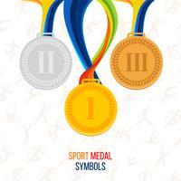 Vector Medaglia d'oro, medaglia d'argento, medaglia di bronzo sullo sfondo delle icone dello sport
