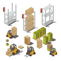 Oggetti isolati con un magazzino industriale, carrelli elevatori, scaffali, scatole, pallet.