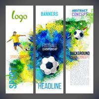Campionato di calcio 2019. Banner sportivi con calciatore e pallone da calcio sullo sfondo con acquerelli
