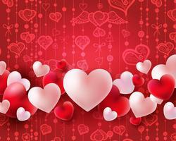 Fondo di giorno di biglietti di S. Valentino con i palloni rossi e bianchi concetto dei cuori 3d vettore