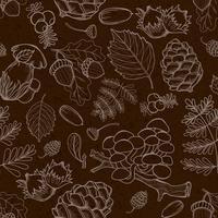 Elementi selvaggi senza giunte della natura, funghi, germogli, piante, ghiande, foglie.