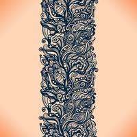 Modello senza cuciture del nastro astratto del pizzo con i fiori degli elementi vettore