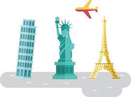 viaggiare in europa famosi monumenti e luoghi simbolo vettore