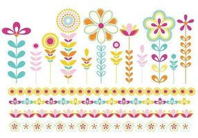 Pacchetto di fiori e bordi vettore