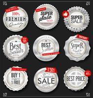 Distintivi d'argento retrò vintage e collezione di etichette