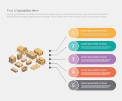 modello di dati aziendali infografica di spedizione del cartone vettore