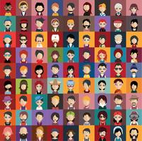 Set di icone di persone con facce