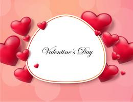 Fondo di San Valentino con casella di testo e bei cuori. Illustrazione vettoriale