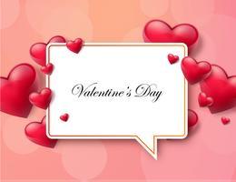 Fondo di San Valentino con casella di testo e bei cuori vettore