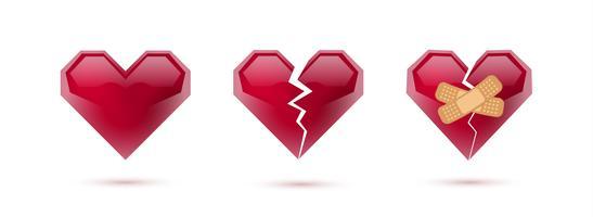Cuori rotti vector set di icone e simboli realistici. Isolato in sfondo bianco Illustrazione vettoriale