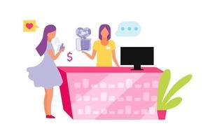 assistente di vendita femminile che offre personaggi vettoriali di colore piatto di profumo