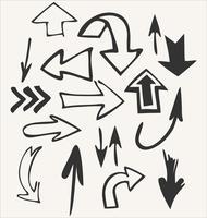 Insieme disegnato a mano di vettore delle forme della freccia isolato su bianco