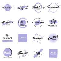 Logo vettoriale retrò femminile vintage per banner