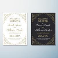 Modello di progettazione del fondo dell'aletta di filatoio dell'annata dell'invito di nozze vettore