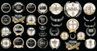 Distintivi ed etichette d'argento di lusso premium vettore