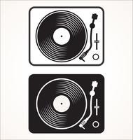 Illustrazione piana di vettore di concetto del disco nero del disco di vinile