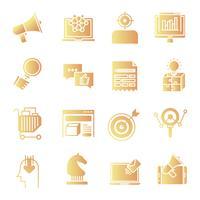 Set di icone di sfumatura di marketing vettore