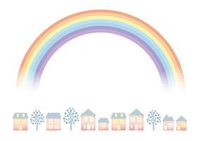 Paesaggio urbano color pastello con l'arcobaleno. vettore