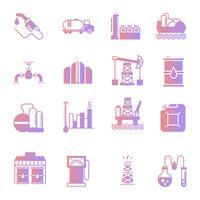 Set di icone di sfumatura industria petrolifera vettore