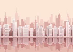 Paesaggio urbano senza soluzione di continuità con i grattacieli. vettore