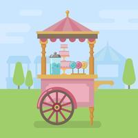 Illustrazione piana del carrello della caramella vettore