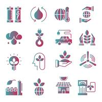 Icone di gradiente di ecologia impostate vettore