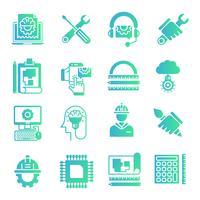 Set di icone di sfumature di ingegneria vettore