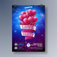 Progettazione del Flyer del partito di amore di giorno di San Valentino di vettore